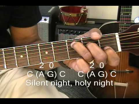 How To Play SILENT NIGHT On Guitar With 3 Chords / Chord Melody Lesson EricBlackmonMusic Christmas