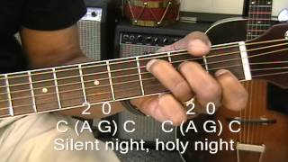 How To Play SILENT NIGHT On Guitar w 3 Chords / Chord Melody Lesson EricBlackmonMusic Christmas