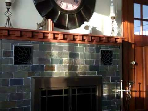 Craftsman Fireplace Mantel And Slate Tile Installation