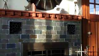 Craftsman Fireplace Mantel And Slate Tile Installation - Hurley Ny
