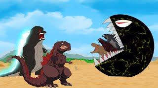 Godzilla vs Shin Godzilla: PAC MAN Attack Dinosaurs, Spider Funny   Godzilla & Dinosaurs Movie