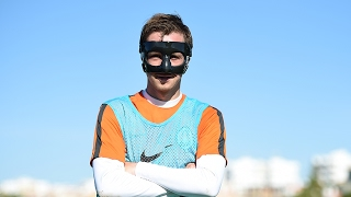 Bohdan Butko trains in the protective mask