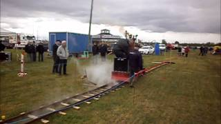New build steam engine replica off an early english train