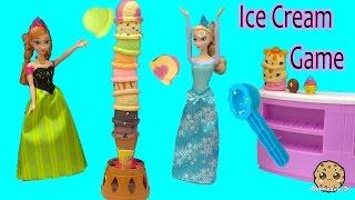 Disney Frozen Dolls Queen Elsa + Princess Anna Play Ice Cream Scoops Tower Game - Toy Video