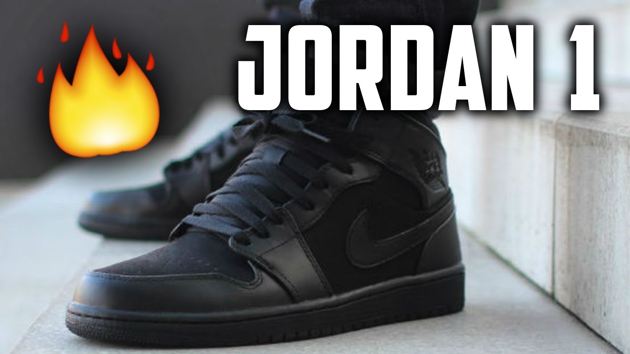 hot sale online 0b19c 39f2a JORDAN 1 MID (ALL BLACK) REVIEW AND ON FOOT
