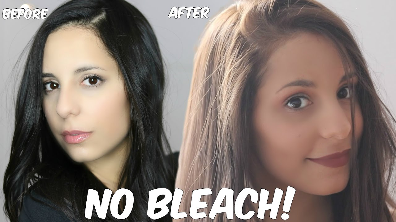 Diy Lighten Dark Hair Without Added Bleach At Home Youtube