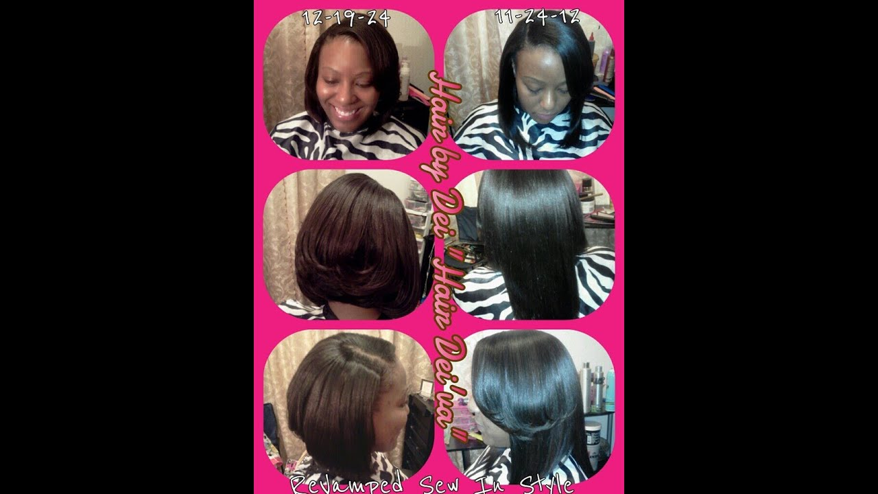Feathered Sew in Bob cut hairstyle - YouTube