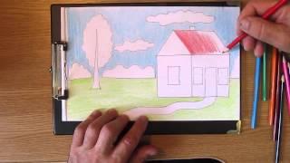 Как рисовать домик. Часть 2. Урок 8(На этом уроке показано, как разрисовать домик с помощью различных приёмов штриховки цветными карандашами...., 2013-07-09T20:11:04.000Z)