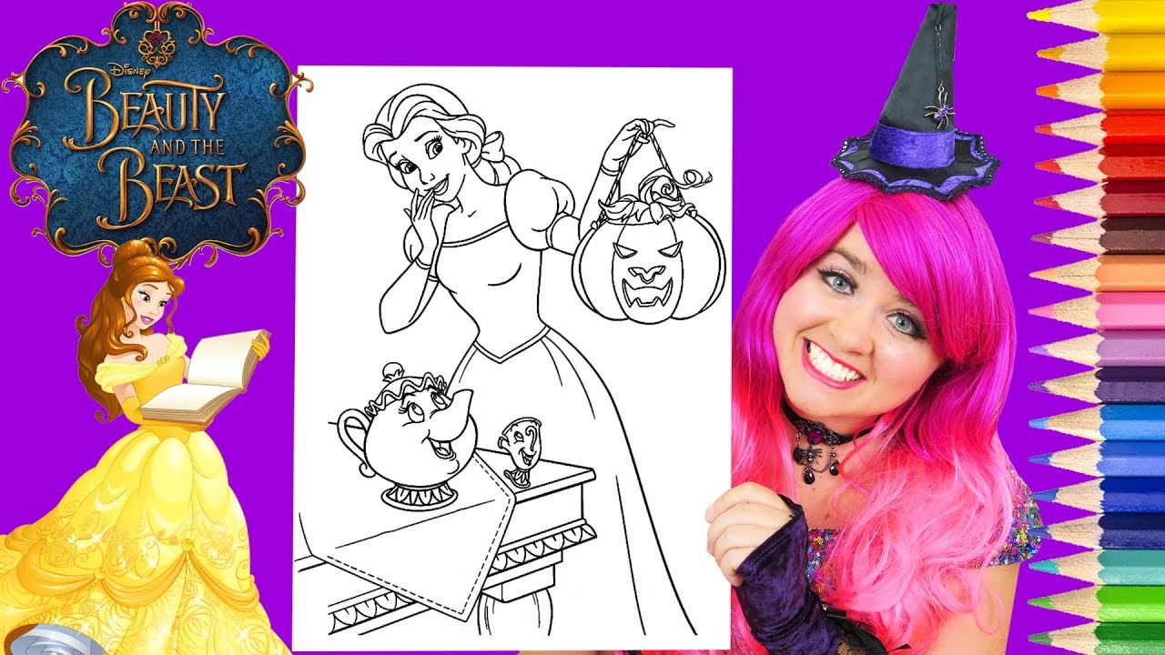 Coloring Belle Halloween Disney Princess Coloring Page Prismacolor Pencils Kimmi The Clown Youtube