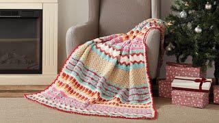 Left Hand: Crochet Happy Holiday Throw: Rows 37 - 48