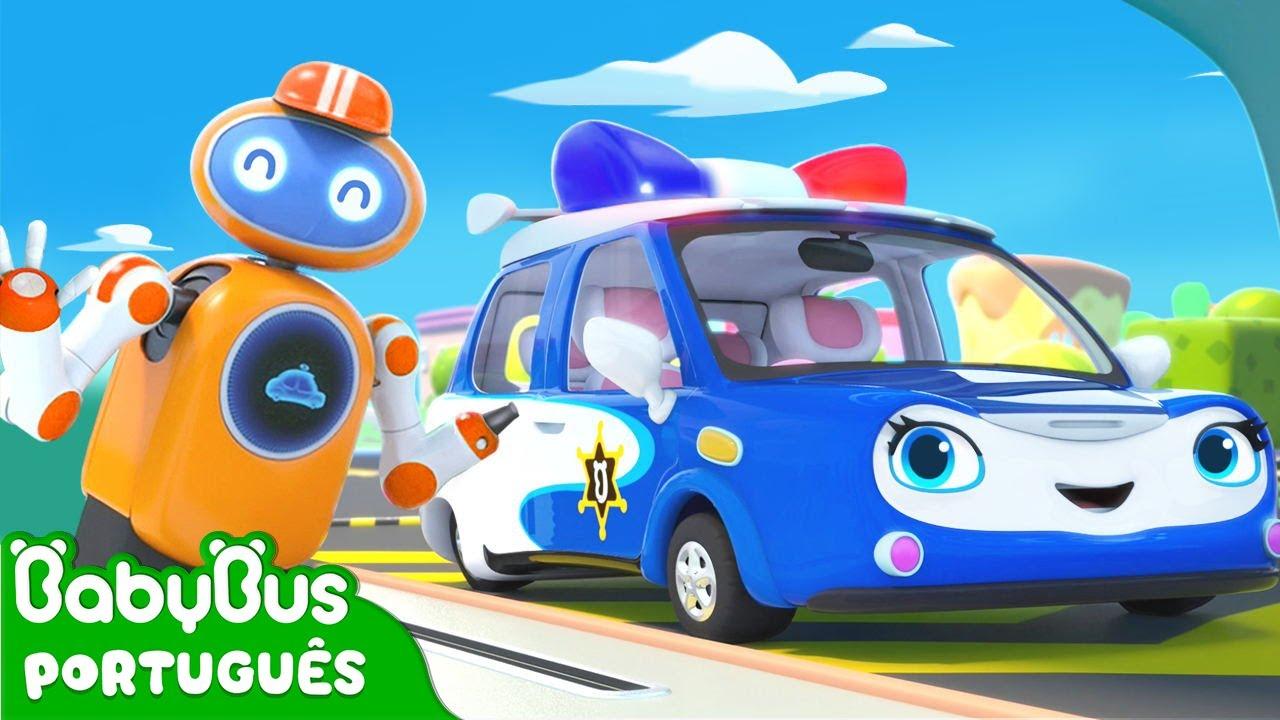 Carro de Polícia e Robô Frentista   Carro Desenho   Música Infantil   Desenho Infantil   BabyBus