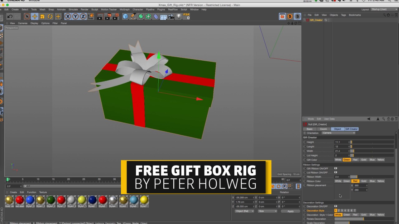 Free C4D Christmas Gift Xpresso Rig - YouTube