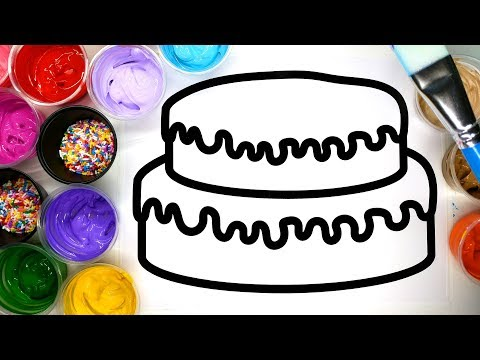 Thumbnail: Coloring a Cake with sprinkles and painting it, children learn to color with paint