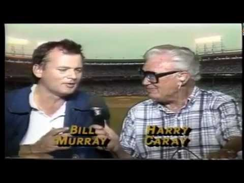 Bill Murray and Harry Caray Open First Night Game At Wrigley Field