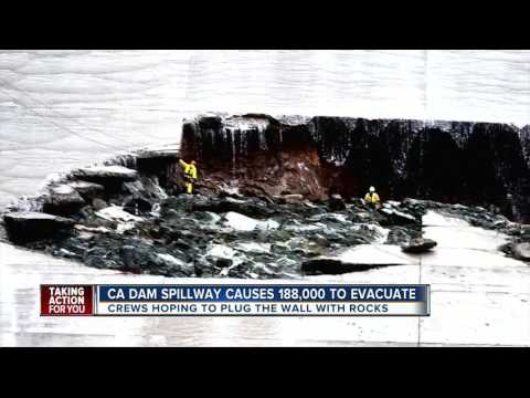 California dam spillway causes 188,000 to evacuate