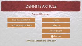 Definite Article in French LE LA LES