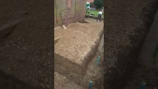 Pouring concrete for the foundations