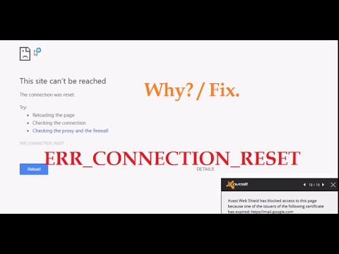 Chrome 'This site can't be reached' The connection was reset (ERR_CONNECTION_RESET) Why ?