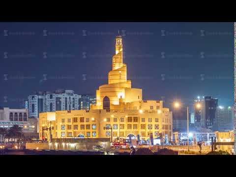 Qatar Islamic Cultural Centre night timelapse in Doha, Qatar, Middle-East