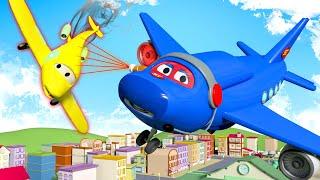 الشاحنة الخارقة  الطائرة الضخمة مدينة السيارات - رسوم متحركة للأطفال 🚓 🚒