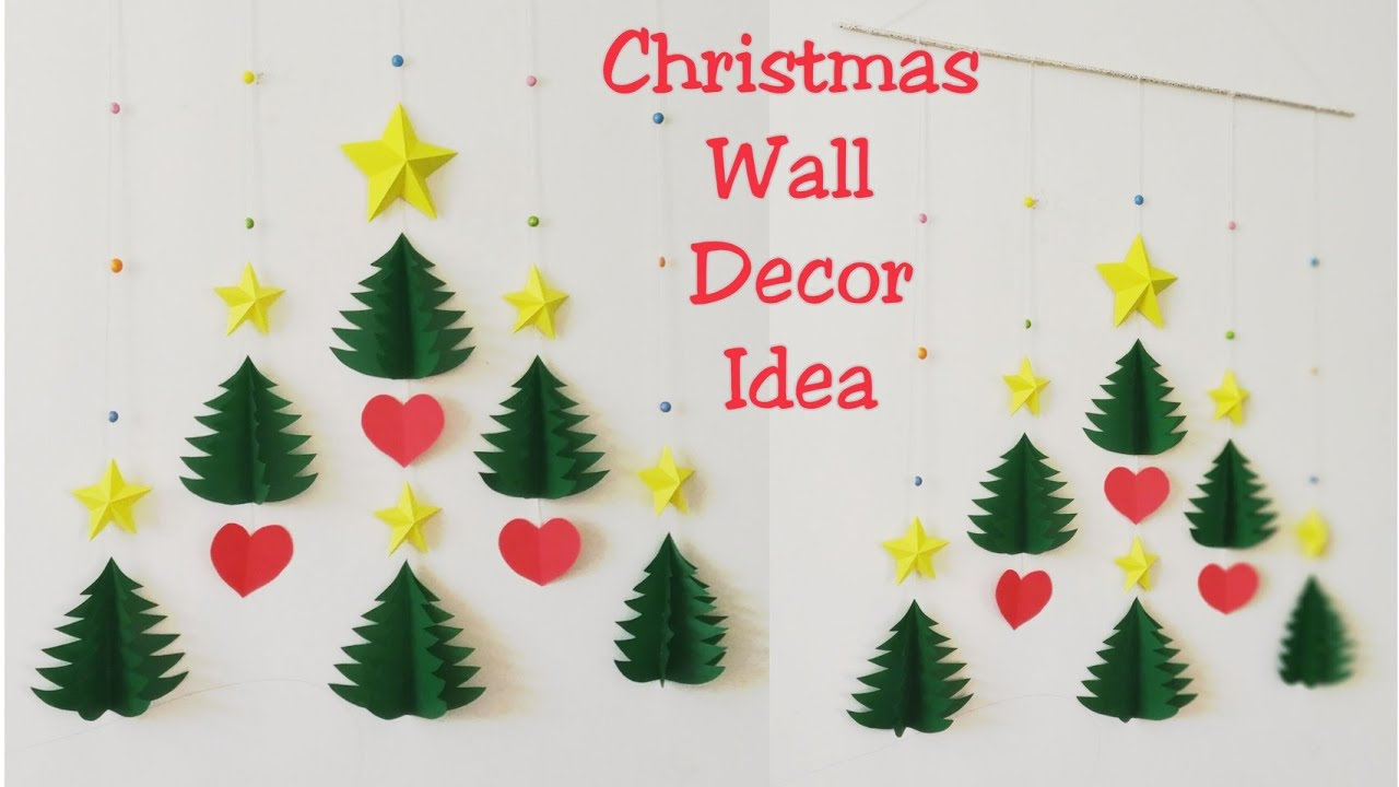 Diy Christmas Wall Decor Ideas How To Make 3d Star Christmas Tree Wall Hanging Diy Wall Hanging