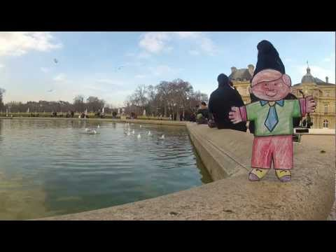 Flat Stanley at Luxembourg Palace in Paris - Relaxing by the Fountain and Pond