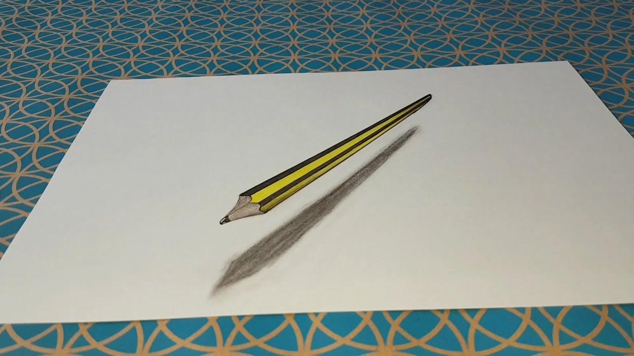 Comment Dessiner Un Crayon 3d Facile Illusion D Optique Youtube