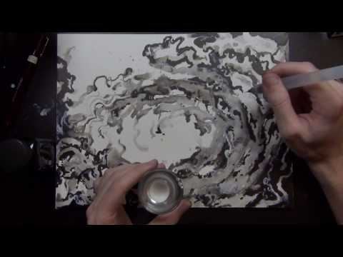 ,swooping & swirling inkwash & drawing,