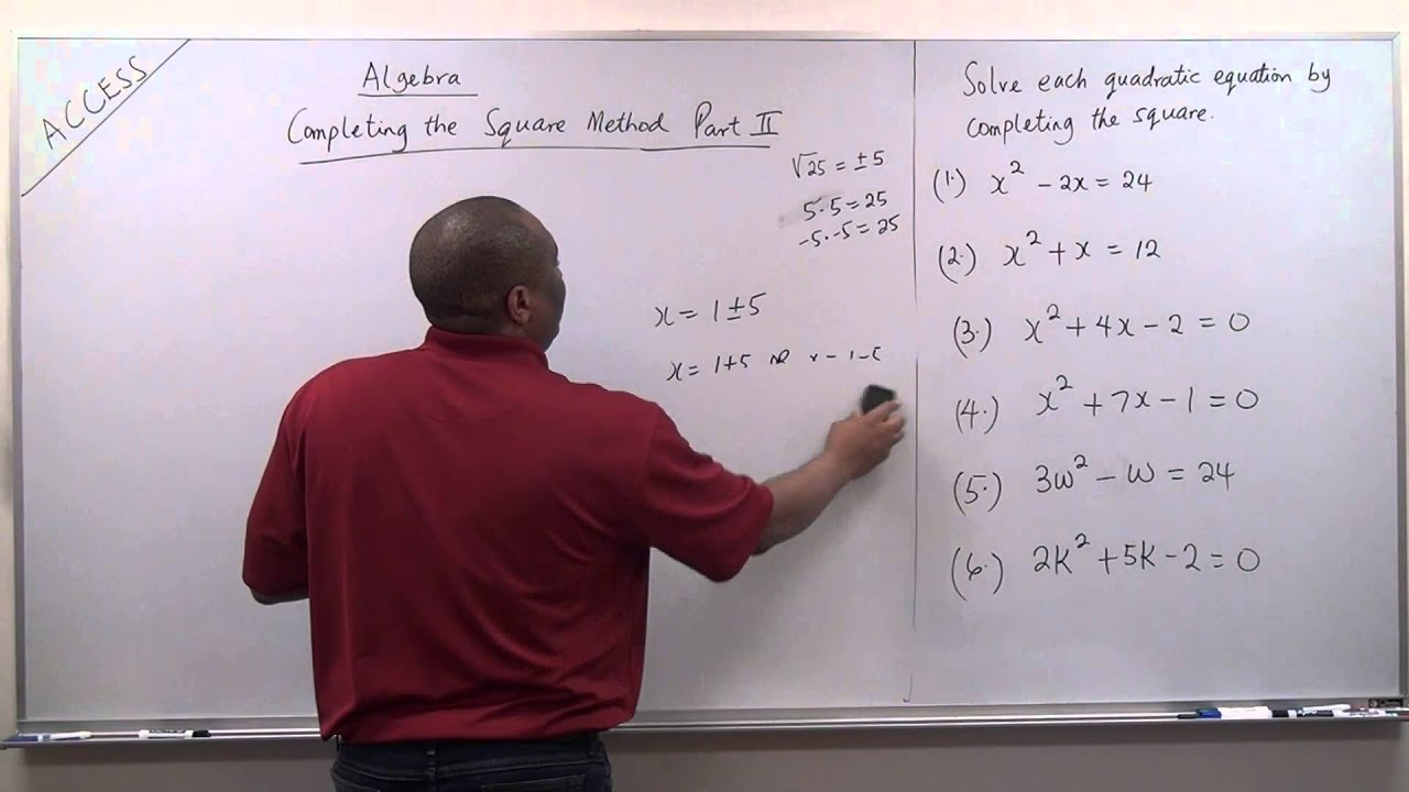 Solution Of Quadratic Equations Using Thepleting The Square Method