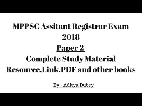 Assistant Registrar MPPSC Paper 2  -Complete material Links, PDF, and Other resource for Preparation