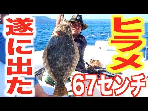 むねお船初巨大魚!でかヒラメが釣れた!