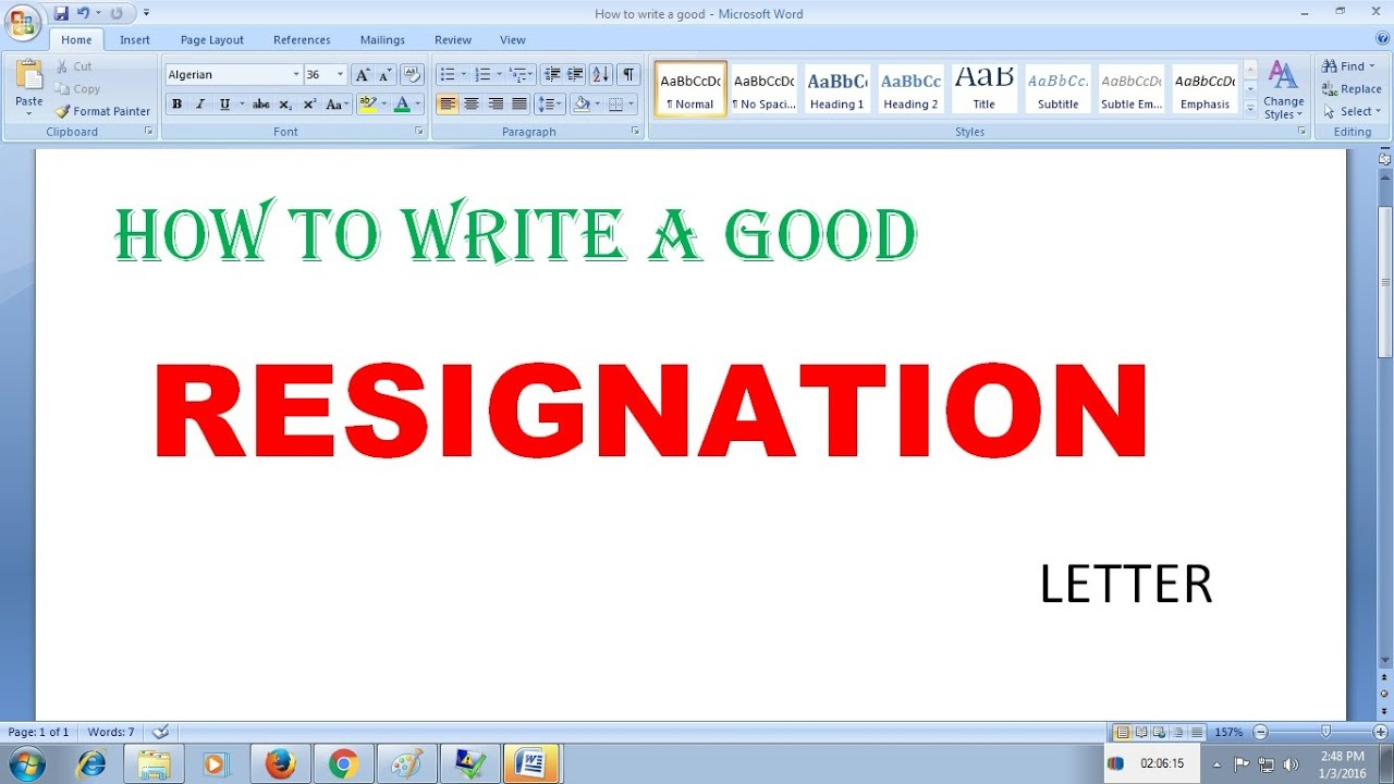 How to write a good resignation letter YouTube – Write a Resign Letter