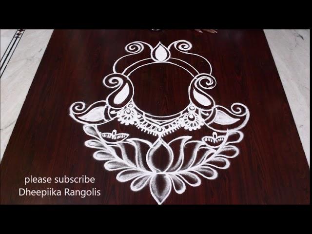 DURGA MAATHA RANGOLI DESIGNS FOR NAVARATHRI DUSSEHRA SPECIAL RANGOLI BEST RANGOLI DESIGN #1