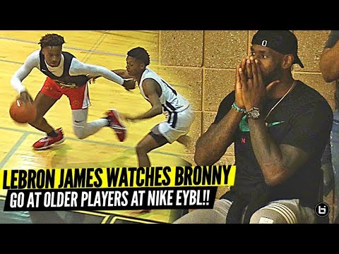 Bronny James Makes NIKE EYBL DEBUT vs. OLDER PLAYERS with LeBron Watching!!