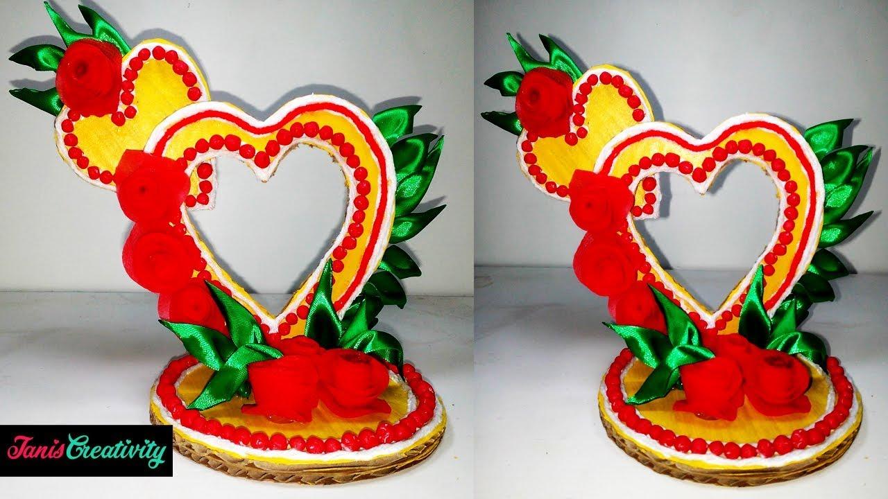 How To Make A Cardboard Heart Showpiece Paper Craft Ideas Diy