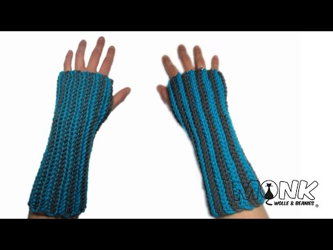 Ribbed Handstulpen / Pulswärmer – Bosnisch häkeln – ribbed wrist warmers (video with english notes)