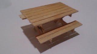 Cara Membuat Miniatur Meja Makan  Dari Stik Es Krim