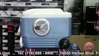 "Ice Chest Cooler With Alpine Kenwood Marine Sound System ""river Audio Boom Box"""