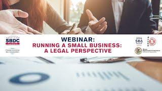 WEBINAR: Running a Small Business, A Legal Perspective