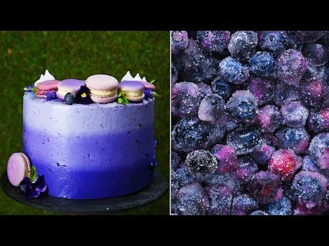2 hacks one amazing ombre blueberry cake! - 2 mẹo nhỏ, 1 chiếc bánh kem việt quất màu loang!