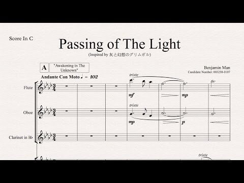 Level 7 IB Music HL Composition - 'Passing Of The Light' (For Orchestra)