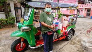 Tuk Tuk Thai Food Delivery 🛺 !! Market to Table Meal in Bangkok, Thailand!