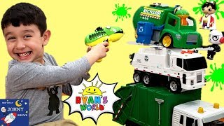 Johny Opens New Ryan's World Toys Gus Recycling Truck Toy & Ryan's World Slime Blaster
