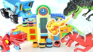 Tayo is Under Attack by Dinosaurs. Go Go Dino&Fire Truck Protect School! Dinosaur Toys for Kids~