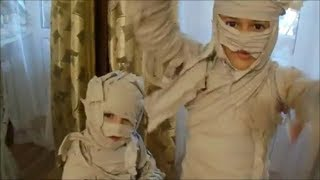 Getting ready for Halloween make a mummy costume out of toilet paper