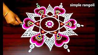 latest rangoli designs with colours, kolam designs with 7 to 4 dots, small muggulu designs with dots