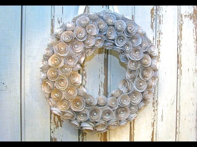 Minimalist book page flower wreath with gold recycled cardboard base
