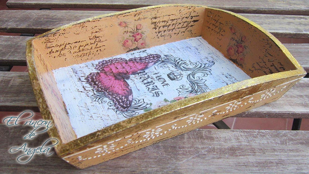 Decoupage y transferencia para decorar una bandeja de - Decorar cajas de madera con servilletas ...
