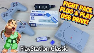 PlayStation Classic Fight Pack Hack Plug & Play 32gb USB Drive - True Blue Mini Mod!