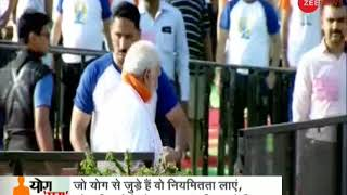 PM Modi performs asanas with volunteers during World Yoga Day In Dehradun